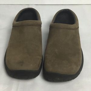 Merrell brown suede clogs. 9